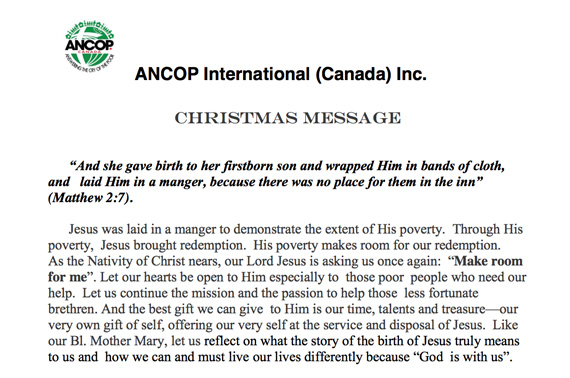 Tag archive for christmas ancop canada answering the cry of greetings from greg parillas m4hsunfo