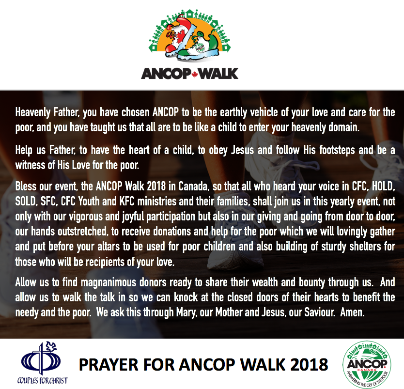 Prayer for ANCOP Walk 2018
